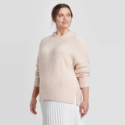 ニューデイ A New Day レディース ニット・セーター 大きいサイズ Vネック トップス Plus Size V-Neck Hoodie Sweater - Blush