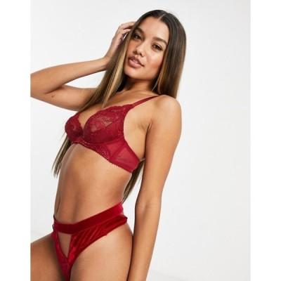 エイソス レディース ブラジャー アンダーウェア ASOS DESIGN Arabella demi pad underwire lace bra in red