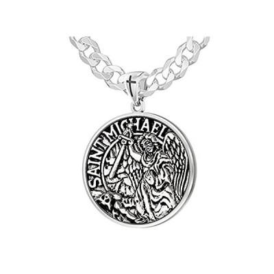 【新品】US Jewels Men's 1in Double Sided 925 Sterling Silver Saint Michael Medal Pe