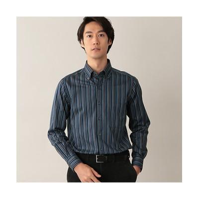<Paul Stuart(Men)/ポール・スチュアート> 起毛ツイルストライプイタリアンボタンダウンシャツ.(J1M02450__) アオ【三越伊勢丹/公式】