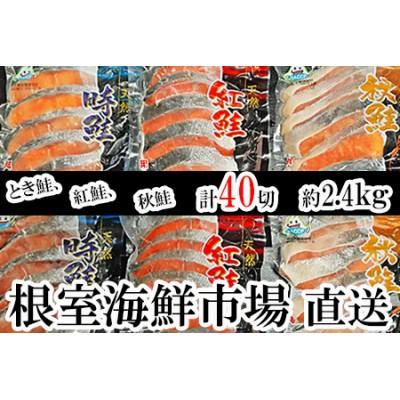 紅鮭切身20切・時鮭切身10切・秋鮭切身10切(計40切、約2.4kg) A-14001