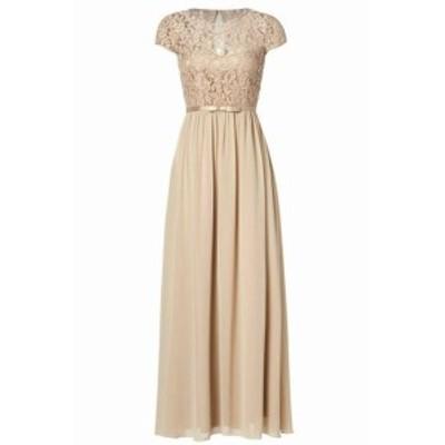 ファッション ドレス SSYIZ NEW Orange Womens Size Large L Floral Lace Satin Belt Chiffon Gown