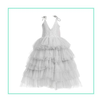 Flower Girl Strap Lace Tiered Tutu Tulle Party Dress Girls Maxi Dresses (White, 8T)並行輸入品