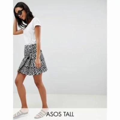 エイソス ミニスカート ASOS DESIGN Tall animal mini jacquard wrap skirt with buckle Mono animal