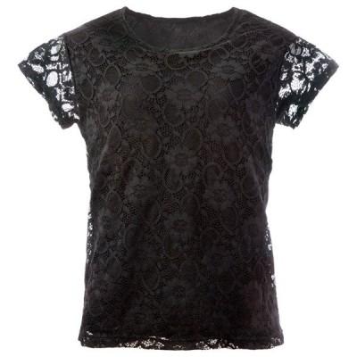 Tシャツ レディース シルク混 レース 花柄 デザイン ブラック  シルク混総レースTシャツ ブラック