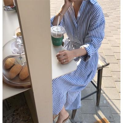 〈即納〉今から使える💓 ゆったりする スリム ストライプ リネン 通気性 春 夏 日焼け止め 長袖 シャツワンピ ファッション 韓国 新作 百掛け 気質 ロングスカート