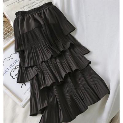 セール大特価、1枚持って損なし!!韓国ファッション おしゃれな 気質 トレンド 大人気 新品 シフォン ハイウエスト スリム プリーツスカート