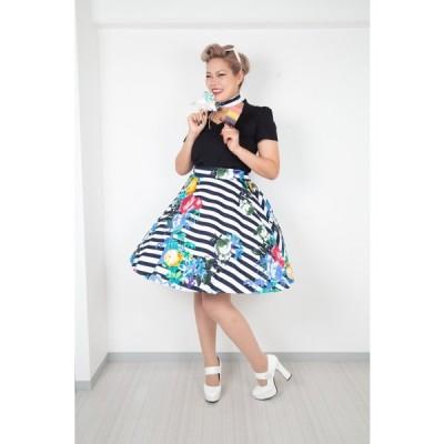 SpiceUp★Groovyオリジナル☆ストライプ×お花柄♪サーキュラー50'sスカート!共布おリボン付き