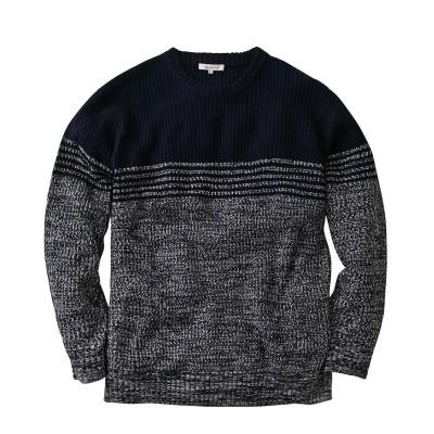 5GG 畦編みボーダークルーネック長袖セーター 大きいサイズメンズ (ニット・セーター)Sweater,