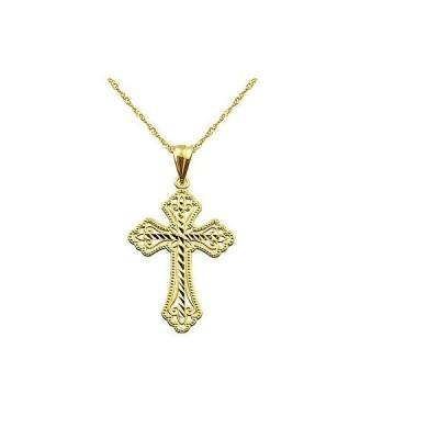 ジュエリー ファッション ネックレス 10k Yellow Gold Diamond-cut Cross Charm Pendant