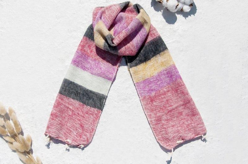 生日禮物純羊毛絲巾/手工針織圍巾/編織圍巾/純羊毛圍巾-粉紅花園