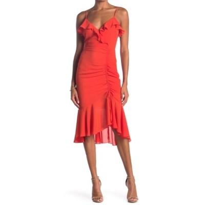ラッシュ レディース ワンピース トップス Ruched Asymmetrical Midi Dress RED