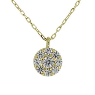 ネックレス レディース 20代 30代 40代 パヴェ サークル ダイヤモンド 4月誕生石 10金