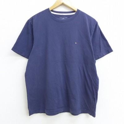 L/古着 半袖 ブランド Tシャツ トミーヒルフィガー TOMMY HILFIGER ワンポイントロゴ クルーネック 紺 ネイビー 20jul14 中古 メンズ