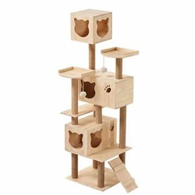 キャットタワー 手作り 木製 コスパ良い 据え置き おうち 突っ張り はしご (中古品)