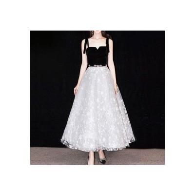 ワンピース レディース パーティドレス 20代 韓国 結婚式 10代 30代 ロング丈 ノースリーブ  Aライン ゆったり 体型カバー 大きいサイズ