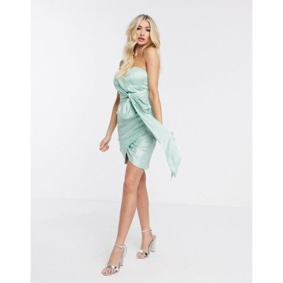レア レディース ワンピース トップス Rare London strapless bow detail mini dress in mint Mint