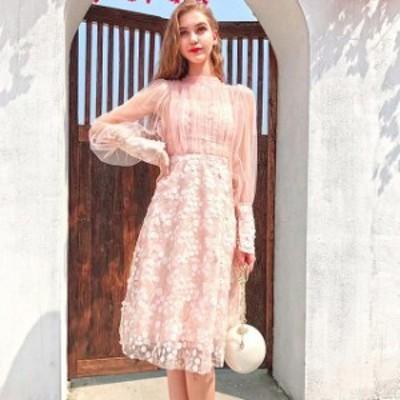 ミニドレス ピンク チュール 透かし長袖 パーティードレス ハイネック 姫系 イブニングドレス 花嫁 二次会 演奏会 誕生日 結婚式ドレス