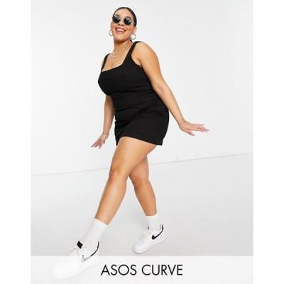 エイソス レディース ワンピース トップス ASOS DESIGN Curve denim square neck fitted pinafore dress in black