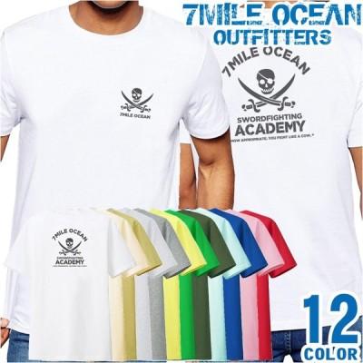 メンズ Tシャツ 半袖 バック 背面 プリント アメカジ 大きいサイズ 7MILE OCEAN スカル