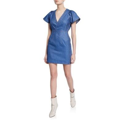 デレクラムテンクロスバイ レディース ワンピース トップス V-Neck Cap-Sleeve Fitted Mini Denim Dress