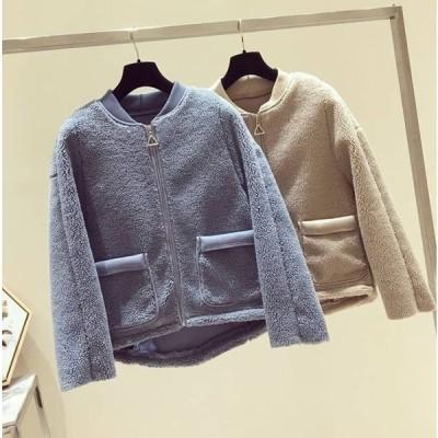 ポケットのデザインが可愛い  カジュアルボアジャケット 2color