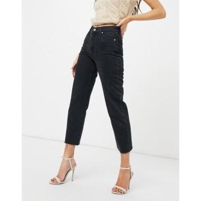 リバーアイランド レディース デニムパンツ ボトムス River Island straight leg jeans in washed black Washed black