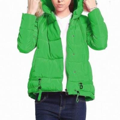 ファッション 衣類 Designer Womens Coat Green Small S Faux Fur Hooded Puffer Zip Trim