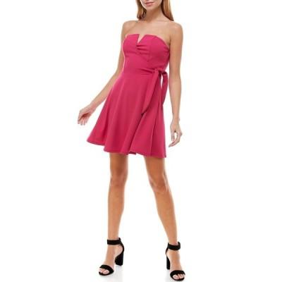 ロウエー レディース ワンピース トップス V-Wire Tie Waist Dress HOT PINK