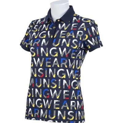 【マンシングウェア】【サンスクリーン】【吸汗速乾】鹿の子総柄ロゴプリント半袖シャツ