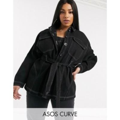エイソス レディース ジャケット・ブルゾン アウター ASOS DESIGN Curve oversized belted heavy denim shirt in black with contrast st