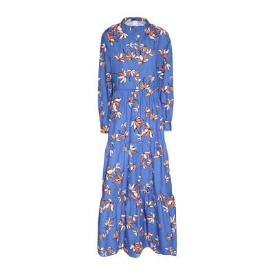 8 by YOOX ロングワンピース&ドレス ブルー 40 コットン 100% ロングワンピース&ドレス