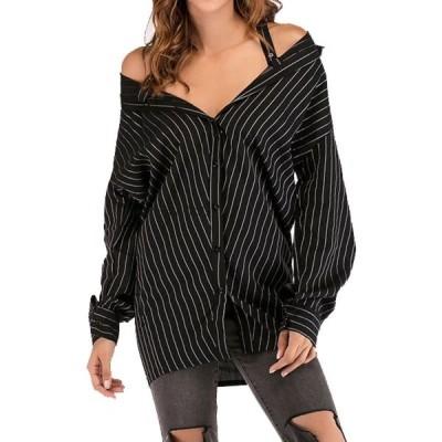 グループ ブラウス女性 セクシーなストライプ秋長袖シャツファッションオフショルダーボタン Blusas ストラップレス スラッシュネックトップス
