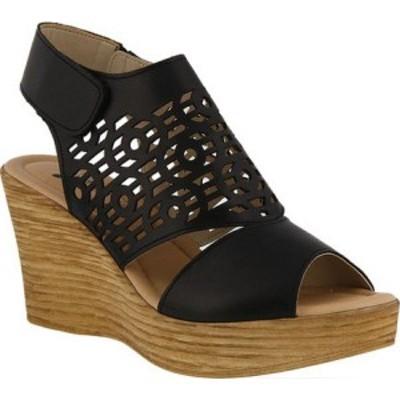 スプリングステップ Spring Step レディース サンダル・ミュール ウェッジソール シューズ・靴 Rokshana Wedge Slingback Black Leather
