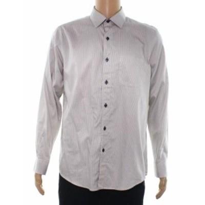 ファッション アウター Tasso Elba NEW Beige Mens Size 2XL Button Down Taupe Striped Shirt