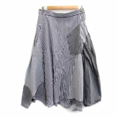 【中古】コーザノストラ スカート フレア ロング丈 ストライプ柄 大きいサイズ 42 白 ホワイト 紺 グレー レディース