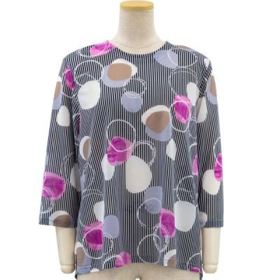 ストレッチ 後ろ身頃 ゆったり 7分袖 エスパンディ カットソー 日本製  Tシャツ 小さいサイズ 大きいサイズ シニアファッション 70代 80代 90代 春夏