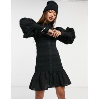 エイソス レディース ワンピース トップス ASOS DESIGN shirred mini shirt dress in black Black