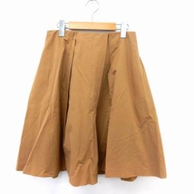【中古】ボールジー BALLSEY トゥモローランド スカート フレア 膝丈 タック バックジップ シンプル 36 茶 ブラウン