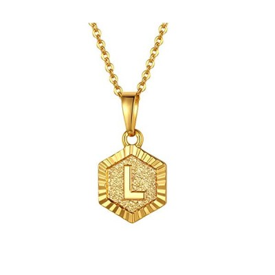 FindChic イニシャルネックレスL レディース ペンダントトップ 18金 18k ゴールド 真鍮 小さめ 六角形 おしゃれ  タイプC・ゴールド