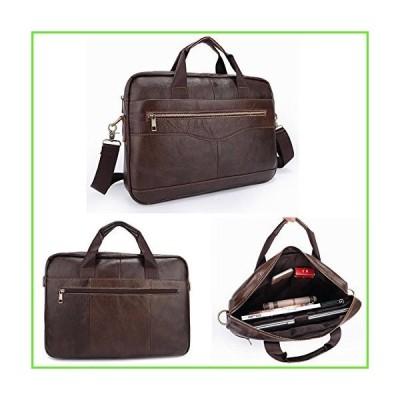 Men Briefcases Handbag Document Business Office Laptop Bag Leather Male Work Bag Brown【並行輸入】【新品】