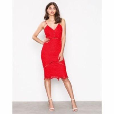 ミスガイデッド ボディコンドレス lace ladder detail midi dress Red
