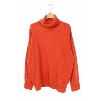 【中古】フランシュリッペ franche lippee セーター ニット タートルネック リボン 長袖 M オレンジ ■OS レディース