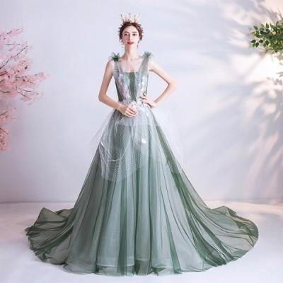ANGEL ノースリーブ チュール ラメ フラワー パール 背中編上げ トレーン プリンセス Aライン ロングドレス グリーン 緑