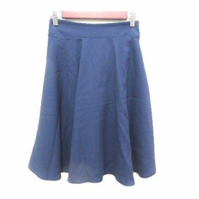 【中古】ナチュラルビューティーベーシック NATURAL BEAUTY BASIC フレアスカート ひざ丈 S 紺 ネイビー レディース