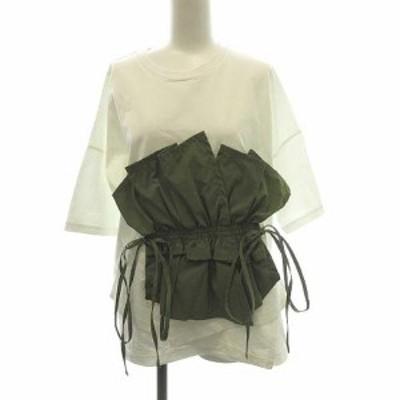 【中古】エンフォルド 20AW Tシャツ カットソー 半袖 Cut Layered T/SH 完売品 フェイクレイヤード 38 M 白 カーキ