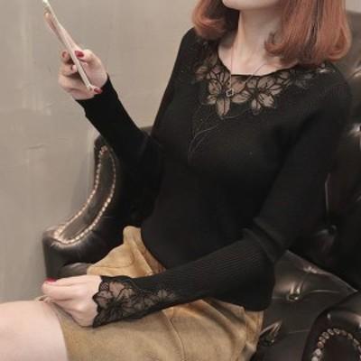 レディース トップス カットソー リブニット シースルー 透け感 お花 ラインストーン 長袖 売れ筋 新作 エレガント フェミニン 大人可愛