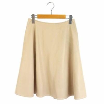 【中古】フォクシー FOXEY NEW YORK 17年製 スカート フェイクレザー フレア 膝丈 38 ピンク 37717 レディース