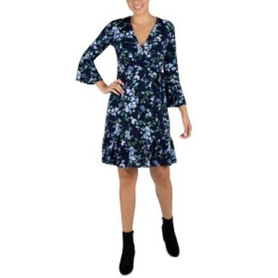 ロビービー レディース ワンピース トップス Petite Floral-Print A-Line Dress Navy/Blue
