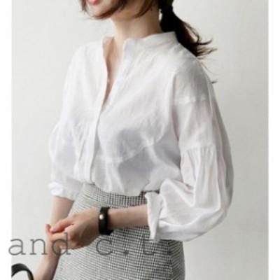 パフスリーブ きれいめ白シャツ 大きいサイズ 春秋 Vネック 七分袖 コットンシンプル 無地 通学通勤に 韓国